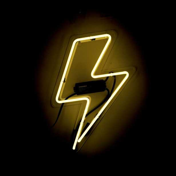 Oliver Gal 'Bolt' Plug-in Neon Lighted Sign, Yellow - Home Depot