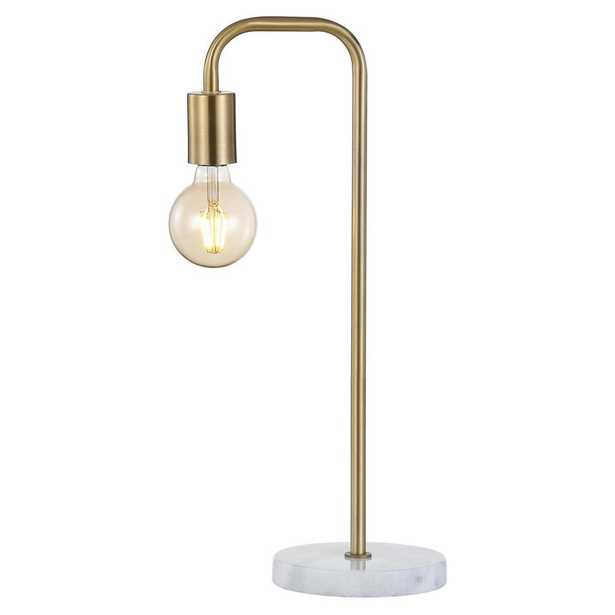 JONATHAN Y Axel 20.5 in. Minimalist Glam Gold Pipe Metal/Marble LED Table Lamp, Brass Gold - Home Depot