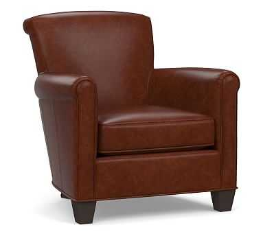 Irving Leather Armchair, Polyester Wrapped Cushions, Statesville Molasses - Pottery Barn