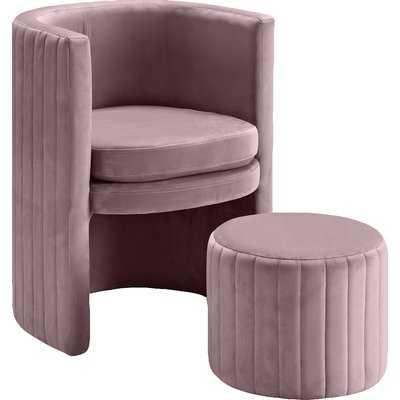 Funon Velvet Barrel Chair and Ottoman - Wayfair