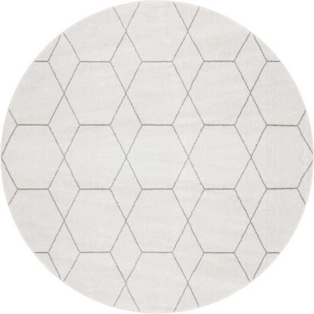 StyleWell Trellis Frieze Geometric Ivory 8 ft. Round Area Rug, Ivory/Gray - Home Depot