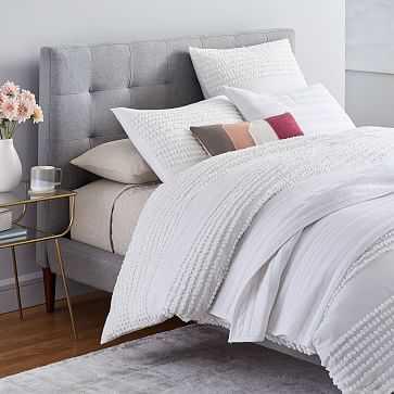 Candlewick Duvet + Shams + Dobby Ladder Quilt White + Belgian Linen Sheet Set Natural Flax, Full/Queen, Queen Sheets - West Elm