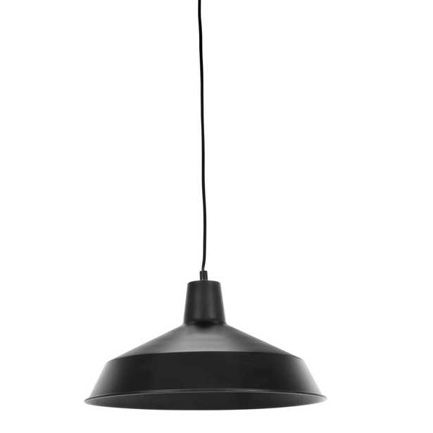 Globe Electric Barnyard 1-Light 16 in. Industrial Warehouse Matte Black Plug-In Pendant - Home Depot
