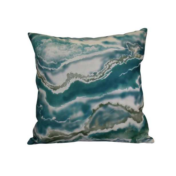 E by Design 16 in. x 16 in. Remolina, Geometric Print Pillow, Teal, Greens - Home Depot