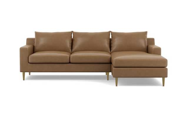 Sloan Leather Chaise Sectional with Palomino and Brass Plated legs - Interior Define