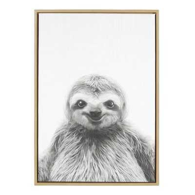 'Animal Print Sloth Portrait' Framed Photographic Print on Wrapped Canvas - AllModern