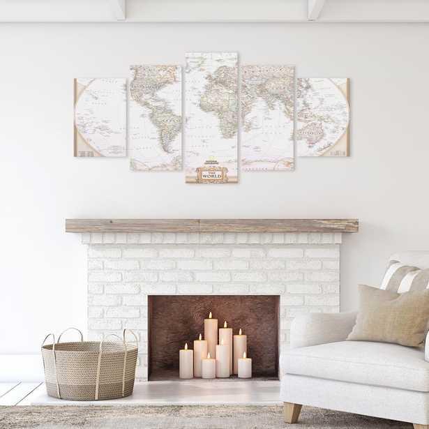 Pinnacle Vintage World Map 5 Panel Canvas Set Wall Art, White - Home Depot