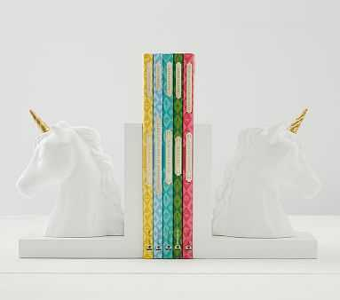 Unicorn Shaped Bookends - Pottery Barn Kids