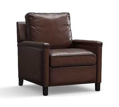 Tyler Leather Recliner with Bronze Nailheads, Polyester Wrapped Cushions, Burnished Walnut - Pottery Barn