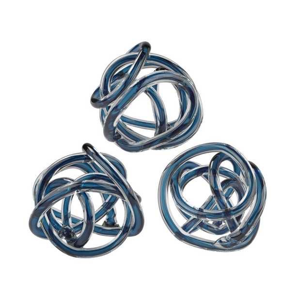 6 in. Round Navy Blue Decorative Glass Knot Sculptures (Set of 3) - Home Depot