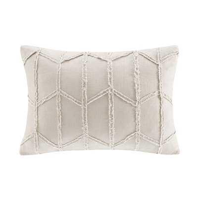 Frayed Linen Geometric Lumbar Pillow - Birch Lane