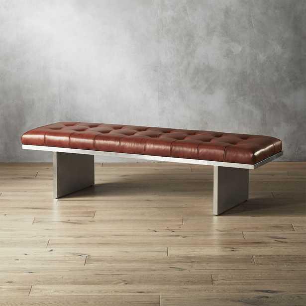 Atrium Tufted Saddle Leather Bench - CB2