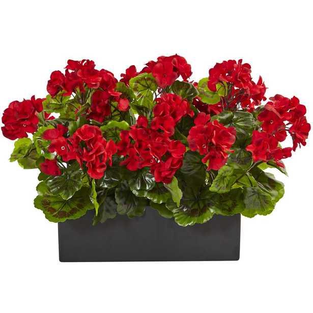 Indoor/Outdoor UV Resistant Red Geranium Silk Plant in Rectangular Planter - Home Depot