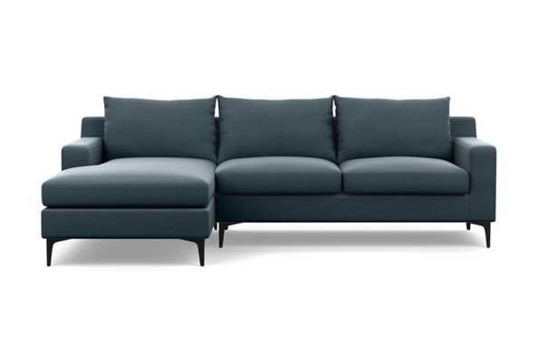 Sloan Chaise Sectional with Aegean Fabric and Matte Black legs - Interior Define