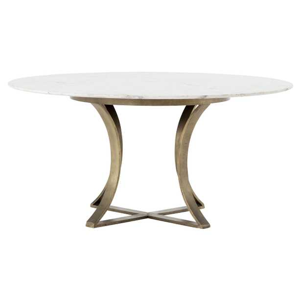 Drake Modern Regency White Marble Antique Brass Round Dining Table - Kathy Kuo Home
