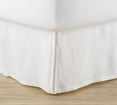 Basic Belgian Linen Bedskirt, King, White - Pottery Barn