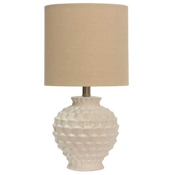 StyleCraft 25 in. White Table Lamp with Beige Hardback Fabric Shade - Home Depot