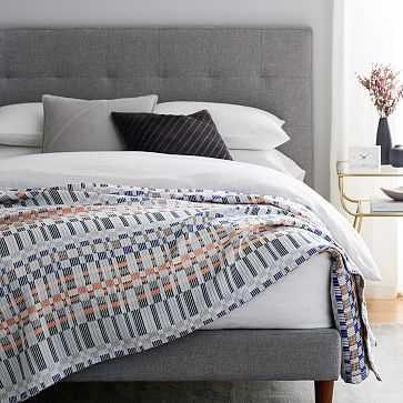 Cotton Ribbon Stripe Blanket, King, Landscape Blue - West Elm