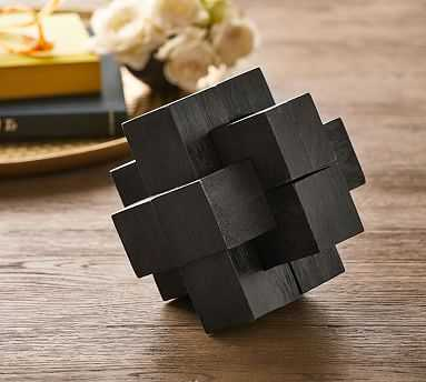 Theodore Puzzle Block Game, Charcoal Wood - Pottery Barn
