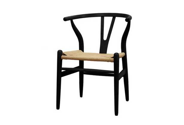 Baxton Studio Mid-Century Modern Wishbone Chair - Black Wood Y Chair (Set of 2) - Lark Interiors
