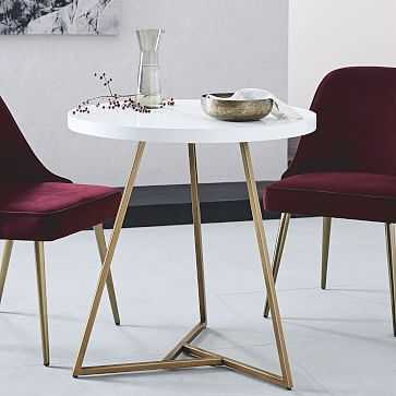 Lacquer Top Cafe Table, White/Antique Brass - West Elm
