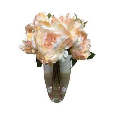 Garden Peonies Centerpiece in Glass Vase - Birch Lane
