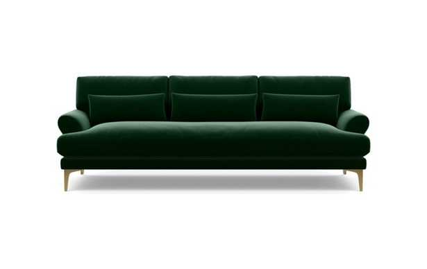 Maxwell Sofa with Emerald Fabric and Brass Plated legs - Interior Define