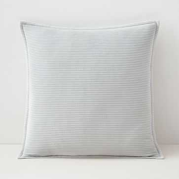 """Solid Ribbed Pillow Cover, 20""""x20"""", Frost Gray - West Elm"""