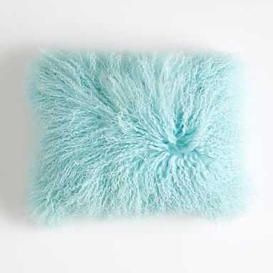 "Mongolian Fur Pillow Cover, 12""x16"", Pale Seafoam - Pottery Barn Teen"