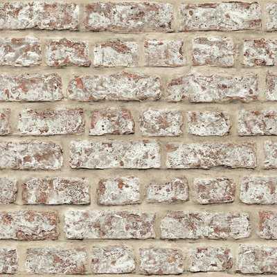"Lovitz Rustic 33.5' x 22"" Brick Wallpaper Roll - AllModern"