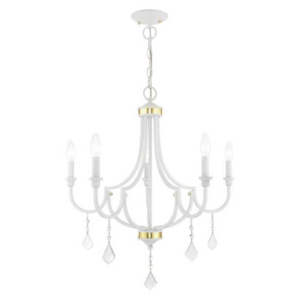 Livex Lighting Glendale 5-Light White Chandelier with Clear Crystals - Home Depot
