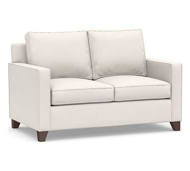 """Cameron Square Arm Upholstered Loveseat 60"""", Polyester Wrapped Cushions, Sunbrella(R) Performance Chenille Salt - Pottery Barn"""