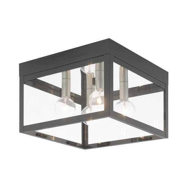 Livex Lighting Nyack Medium 4-Light 10.5 in Scandinavian Gray Outdoor Semi-Flush Mount Light - Home Depot