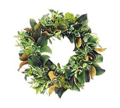 "Faux Pittosporum And Magnolia Leaf Wreath, 22"" - Pottery Barn"