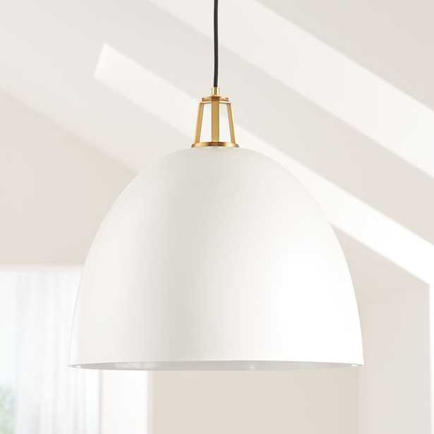 Maddox White Dome Pendant Large with Brass Socket - Crate and Barrel