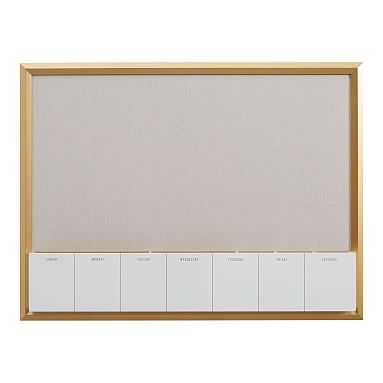 Pinboard With Dry Erase Calendar Cubby, Gold & Linen - Pottery Barn Teen