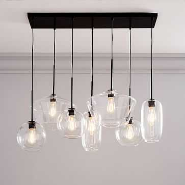 Sculptural Glass 7Lt Linear Mixed Shade Chandelier S Globe/M Pebble/L Geo Clear Bronze Canopy - West Elm
