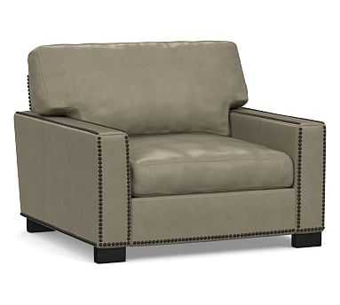 Turner Square Arm Leather Armchair with Bronze Nailheads, Down Blend Wrapped Cushions, Legacy Taupe - Pottery Barn