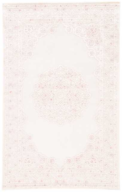 Malo Medallion Pink/ White Area Rug (9' X 12') - Collective Weavers