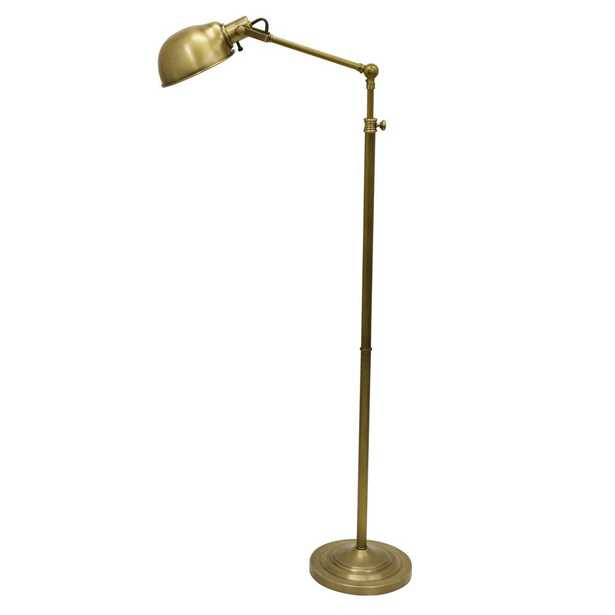 Decor Therapy Dane Adjustable Pharmacy 71 in. Brass Floor Lamp with Metal Shade - Home Depot
