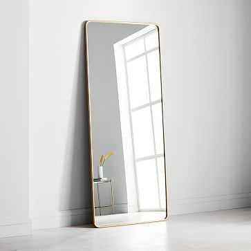 Modern Streamline Floor Mirror, Antique Brass - West Elm