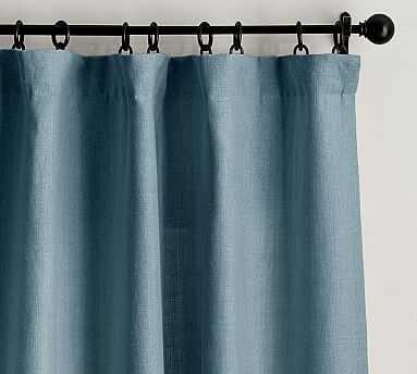 "Belgian Flax Linen Drape, Blackout Lining, 50x84"", Riviera Blue - Pottery Barn"