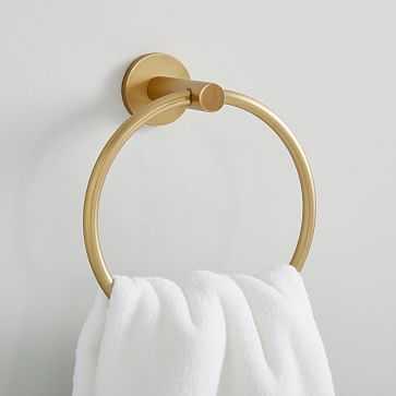 Modern Overhang Towel Ring, Antique Brass - West Elm