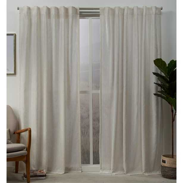 Exclusive Home Curtains Muskoka 54 in. W x 96 in. L Teardrop Slub Embellished Hidden Tab Top Curtain Panel in Natural (2-Panel) - Home Depot
