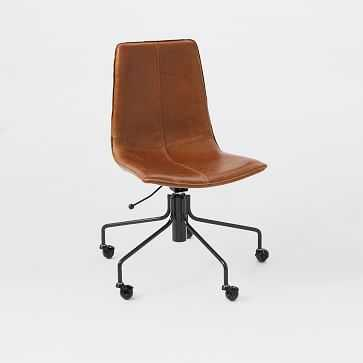 Slope Office Chair, Saddle Leather, Nut - West Elm