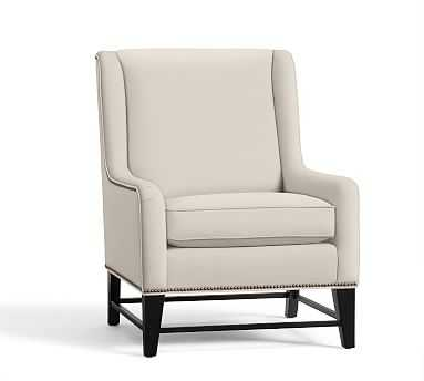 Berkeley Upholstered Armchair Polyester Wrapped Cushions Twill Cream - Pottery Barn