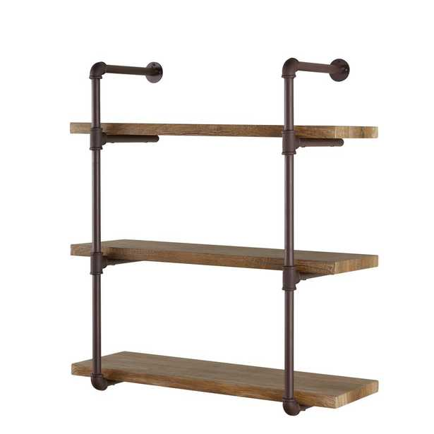 Urbanne Industrial Aged 3-Tiered Wood Print MDF and Metal Pipe Floating Wall Shelf, Brown/Tan - Home Depot