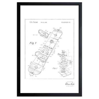 'Snowboard 2003' Framed Drawing Print in Silver - Wayfair