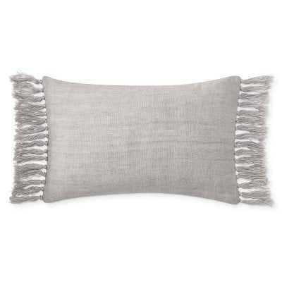 """Knotted Fringe Linen Lumbar Pillow Cover, 14"""" X 22"""", Grey - Williams Sonoma"""