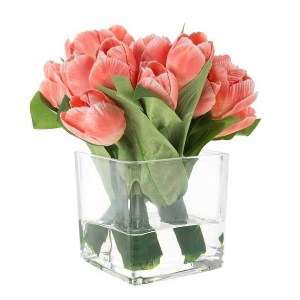 Pure Garden Tulip Floral Arrangement with Vase and Faux Water - Home Depot
